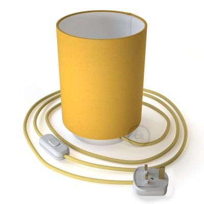 Posaluce in metal with Bright Yellow Cilindro lampshade, complete with fabric cable, switch and UK plug