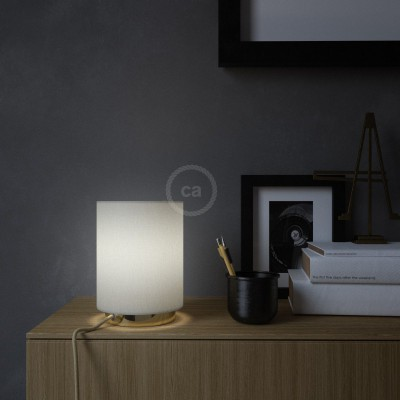 Posaluce in metal with White Lawn Cilindro lampshade, complete with fabric cable, switch and UK plug