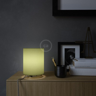Posaluce in metal with Olive Green Canvas Cilindro lampshade, complete with fabric cable, switch and UK plug