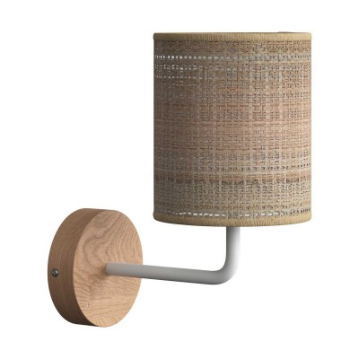 Fermaluce Wood, woods wall light with lampshade and bent extension