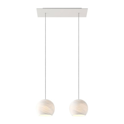 2-light pendant lamp with 675 mm rectangular XXL Rose-One, featuring fabric cable and Dome XS lampshade