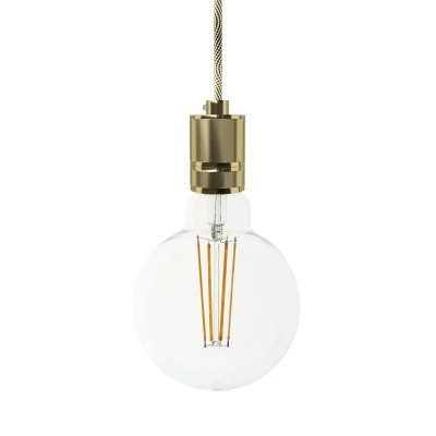 Pendant lamp with textile cable and milled aluminium lamp holder - Made in Italy - Bulb included