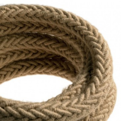 2XL jute twisted rope cable, 2x0,75 elettric cable. 24mm diameter