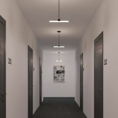 Pendant lamp with textile cable, S14d Syntax® lamp holder and metal details - Made in Italy - Bulb included