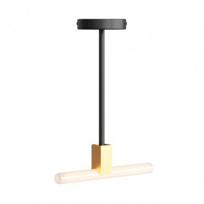 Minimal ceiling lamp with S14d Syntax socket and 30 cm metal extension pipe
