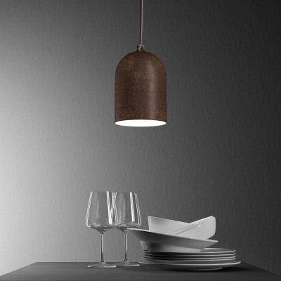 Pendant lamp with textile cable and lampshade Mini Bell XS ceramic shade - Made in Italy - Bulb included