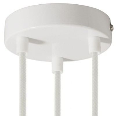 Cylindrical metal 3-hole ceiling rose kit
