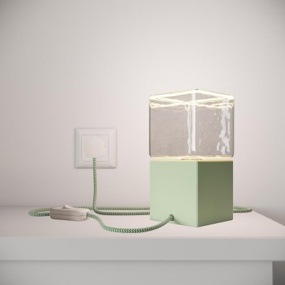 Posaluce Cubetto Color, painted wooden table lamp complete with textile cable, switch and UK plug