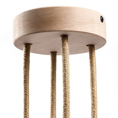 Cylindrical wooden 4-hole ceiling rose Kit