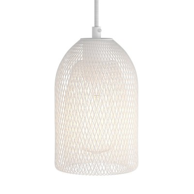 Pendant lamp with textile cable, Ghostbell lampshade and metal details - Made in Italy - Bulb included
