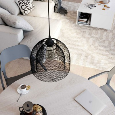 Pendant lamp with textile cable, Ghostbell XL cage lampshade and metal details - Made in Italy - Bulb included