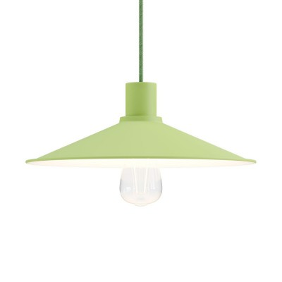 Pendant lighting Made in Italy complete with fabric cable, Swing Pastel lampshade with metal finishing