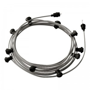 Ready-to-use 12,5m Lumet String Light with Kit with 10 black Lamp Holders, Hook and Plug